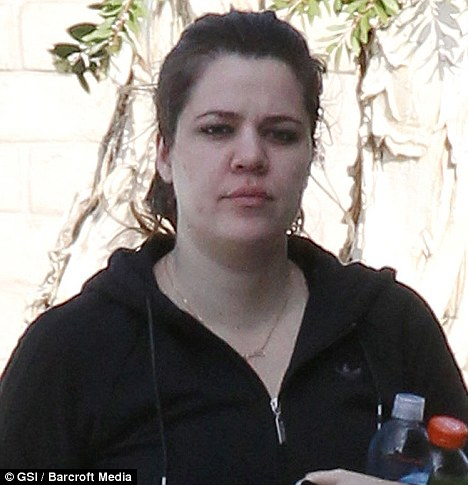 Bare-faced cheek: Khloe Kardashian stepped out in Los Angeles today minus her make-up