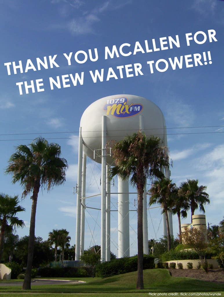 Thank you McAllen and all of our sponsors for the new water tower! #AprilFools
