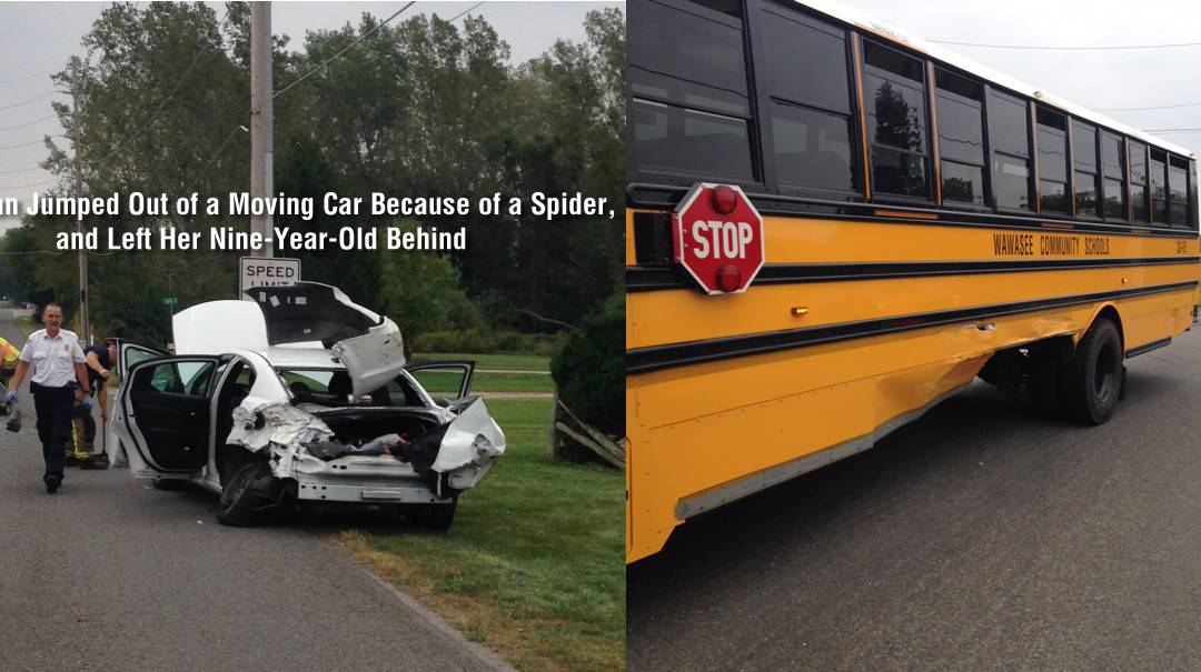 Woman jumps from moving car after seeing spider leaving her child behind, causing wreck